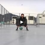 ドリブル練習動画「トス&キャッチドリブル フロントチェンジ×3」